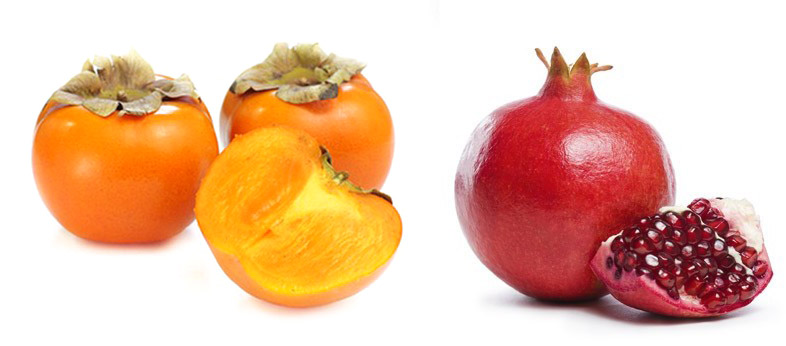 Discover and try the 2 famous winter fruits : PERSIMMON & POMEGRANATE !