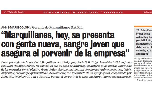 """ARTICLE VALENCIA FRUITS """"Marquillanes, hoy, se presenta con gente nueva, sangre joven que asegura el porvenir de la empresa"""""""